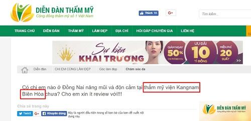 Thẩm mỹ viện Kangnam Biên Hòa Đồng Nai có phải là chi nhánh thứ 3 của Kangnam???